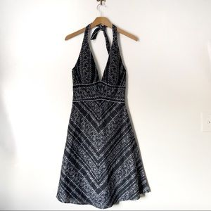 WHBM embroidered halter A-line dress NWT